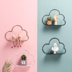 Nordic Style Cloud Shape Wall Hanging Shelf Metal Wall Floating Shelf Storage Rack Figurines Display Crafts Shelves Home Decor