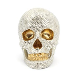 Gold And Silver Beads Small Skull Decoration Creative Home Desktop Decoration Jewelry Halloween Resin Crafts Skull Figurine