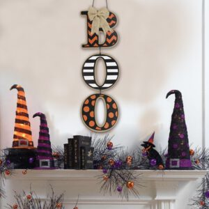 Halloween BOO Letter Wooden Pendant Tag Hanging Board Home Party Decorative Sign Door Window Hanging Plaque Gift