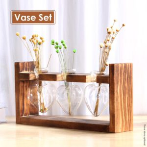 Transparent Plant Vases Flower Pot Terrarium Hydroponic Wooden Flower Stands Tabletop Vases For Flowers Home Bonsai Decor