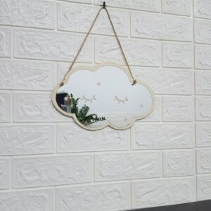 Removable Acrylic Mirror Cloud Shape with Wood Frame Home Wall Decoration for Play Room, Bedroom