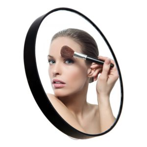 1pc 5X 10X 15X Cosmetic Makeup Mirror Pimple Pore Magnifier Makeup Tool Round Hand Mirror Beauty Mirror With Two Suction Cups
