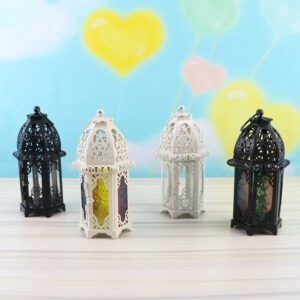 Classic Moroccan Windproof Candle Holder Votive Iron Glass Hanging Candlestick Lantern Party Home Wedding Church Decoration