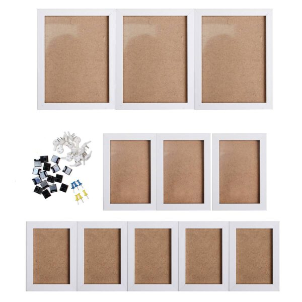 11Pcs Black White Acrylic Glass Picture Photo Frame Set DIY Removable Wall Mural Decor With Installation Accessories Home Decor