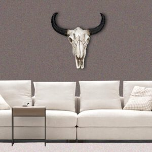 Resin Longhorn Cow Skull Head Wall Hanging decoration 3D Animal Wildlife Sculpture Figurines Crafts Horns for Home Decor