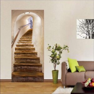Staircase Stickers 3D Simulation Door Stickers Removable Bedroom Living Room DIY Renovation Wallpaper Easy to Clean Durable 2020