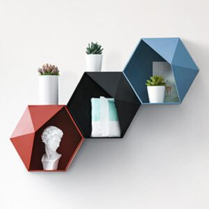 modern Floating Shelf Living Room Wall-Mounted Geometric Punch-Free Wall Decoration Bathroom Wall Shelf Etagere Mural