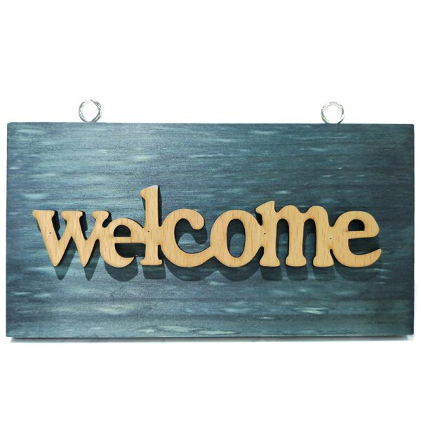 Vintage Blue Wood Poster Wooden Open Closed Welcome Sign Plaque for Home Cafe Shop Door Hanging Sign Hanging Decoration Crafts