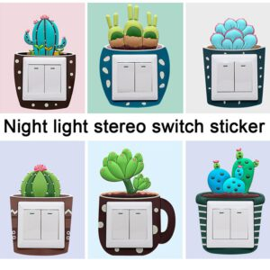 Wall 3D Luminous on-off Night Light Switch Outlet Cartoon Stickers for Kids Home Bedroom Living Room Decor House Decorations