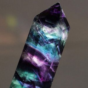 Rainbow Crystal Natural Fluorite Striped Quartz Crystal Hexagonal Point Faceted Prism Wand For Healing Home Decoration