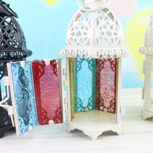 Modern Fashion Hollow Candle Holder Votive Candle Holder Hanging Lantern Wrought Iron Glass Lantern Candlestick Home Decoration