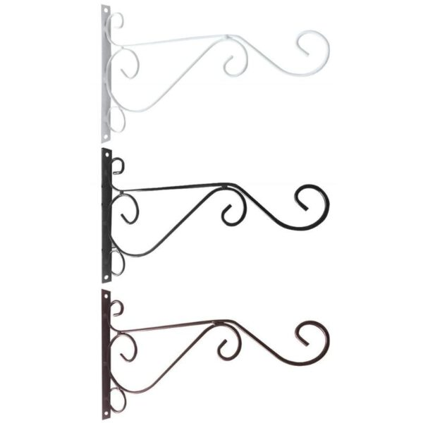 Wrought Iron Wall-mounted Hook Balcony Plant Flower Pots Decorative Shelf Hanging Basket Support Garden Art Crafts
