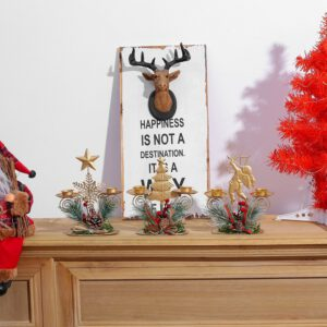 Holiday Wrought Iron Candlestick Santa Claus Five-pointed Star Sagittarius Ornaments Christmas Table Crafts Candle Holder