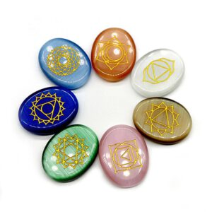 7pc/set Natural Carving Chakra Meditation Stone Agate Crystal Carving Relaxation Worry Healing Medallion Rune Decoration Crafts