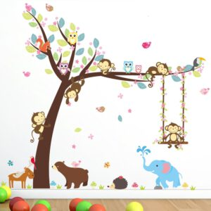 Forest Bear Owl Elephant Monkey Wall Stickers Animal Tree For Kids Rooms Children Baby Nursery Rooms Home Decorations Cutensil
