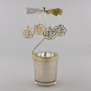 Rotating Glass Candlestick Rotating Transfer WindmillBird In The Cage