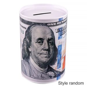 High Quality Metal Tinplate Cylinder Piggy Bank Euro Dollar Picture Box Household Saving Money Box Home Storage Organizers