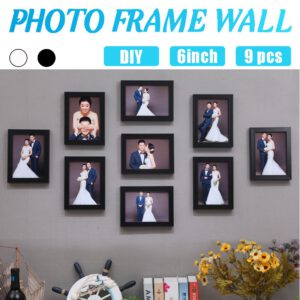 9pcs Picture Photo Frame Set DIY Removable Wall Mural Black White Color Photos Frames Sticker Decal Living Room Home Decor