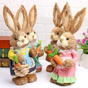 Simulation Straw Easter Rabbit Home Window Decor Ornament Photography Props