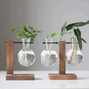 Vintage Style Glass Desktop Plant Bonsai Flower Christmas Decoration Vase with Wooden L / T Shape Tray Home Decor Accessories