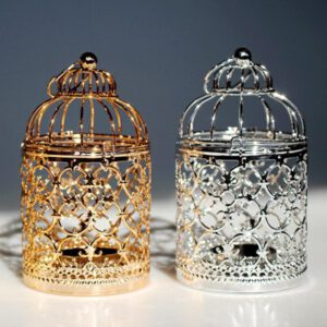 European Style Hollow Candle Holder Hanging Bird Cage Candlestick Lantern Home Wedding Decor Candle Holder Gold Rose Silver