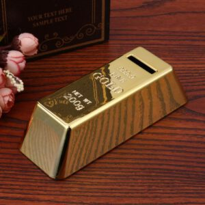 ABS Plastic Piggy Bank Gold Bullion Bar Piggy Bank Brick Coin Bank Saving Money Box for Kids Children Birthday Gifts Home Decor