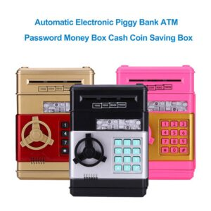 Electronic Piggy Bank ATM Mini Password Money Box Safety Chewing Cash Coins Saving Box Automatic Deposit Banknote Kids Gift