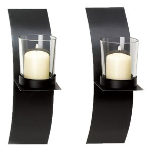 2Pcs Modern Style Wall Hanging Candlestick Metal Candle Holder Sconce Home Decor