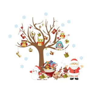 Merry Christmas Decorations for Home Santa Claus Wall Window Stickers Gift Navidad Xmas 2020 Ornaments New Year Decor
