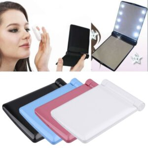 For Lady Cosmetic Vanity Mirror Compact Folding Portable Pocket LED Make Up Mirror Gift 8 Built-in LED Lighting Bulbs