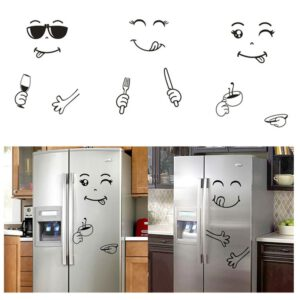 1pc Disposable Fridge Cute Sticker with Delightful Faces Kitchen Wall Stickers Durable Wall Stickers for House Decoration