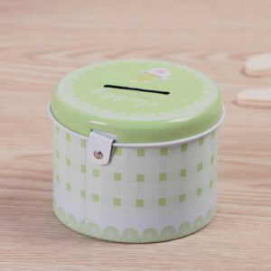 1pc Durable Round Piggy Bank Vogue Simple Pattern Tinplate Piggy Bank with Lock Universal Gift for Money Storage(Random Color)