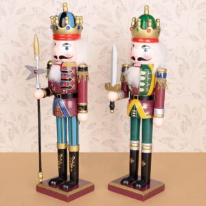 30cm Vintage Handcraft Puppet Toy Wooden Nutcracker Doll Home Party Decoration Ornaments Christmas Gifts
