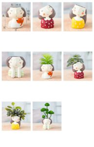Home Decoration Planter Pot Cute Girl Flowerpot Planter Desktop Vase Home Office Accessories Bonsai Pot