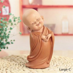 Little Monk Sculpture Chinese Style Resin Hand-Carved Buddha Statue Home Decoration Accessories Gift Statue Small Buddha Statue