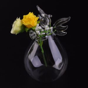 Transparent Glass Vase Decoration Home Furnishing Angel Shape Flower Plant Stand Vase Hydroponic Technology Container