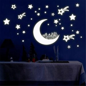 Glow In The Dark Ceiling Wall Stickers Luminous Moon And Stars Tile Sticker DIY Kids Bedroom Decor Fluorescent Night Sky Decals