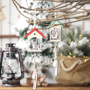 Alpaca House Bark Hollow Wooden Christmas Pendant Creative Christmas Tree Wooden Ornament Christmas Decoration