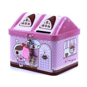 New metal house shape piggy bank coin safe storage box child piggy banks key lock money box creative children Christmas gift