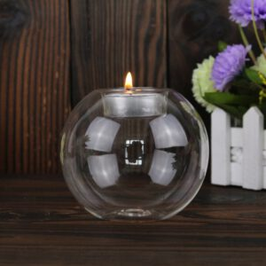 Newest 8CM/10CM/12CM Clear Round Hollow Heat Resistant Glass Candle Holder Wedding Fine Candlestick Dining Room Home Decoration