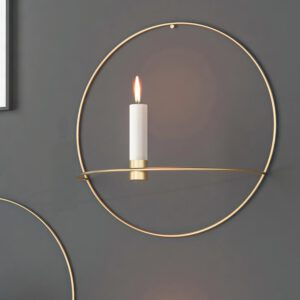3D Metal Candle Holder Geometric Round Candlestick Wall Mounted Crafts Wedding Table Home Deco Party Festival Decoration Gifts