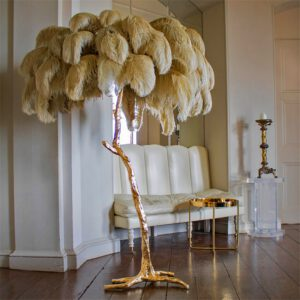 Nordic Decoration Home Ostrich Feather Floor Lamp Modern Luxury Copper Floor Lamps for Living Room Resin Standing Light Lighting