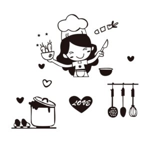 Lovely Chef Pattern Wall Sticker Waterproof Removable Decal Kitchen Decoration PVC Anti-collision Fashion Wall Stickers