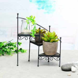 3-Layer Retro Iron Plant Rack Stand Plant Succulent Shelf Staircase Desktop Garden Flower Stand with Wood Plate Home Decorative