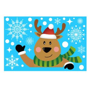 Santa Elk Christmas Pvc Static Sticker Beautify Home Windows Large Snow Flake Wall Sticker New Year Party Glass Dress Up#np30