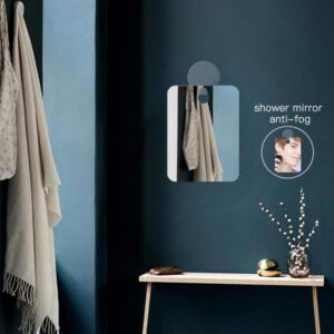 Anti Fog Shower Mirror Bathroom Fogless Fog Free Mirror Washroom Travel For Man Shaving Mirror 13*17cm