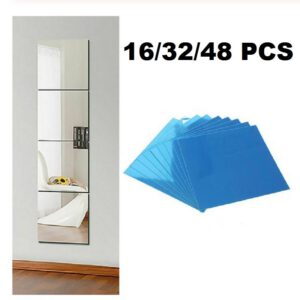 16x 15CM Square Mirror Glass Tile Wall Stickers Decals Mosaic Home Bathroom Living Room Decor DIY Long Wall Mirror Stickers