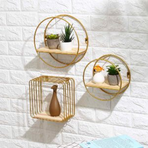 Nordic Iron Round Grid Wall Storage rack Shelf Wall Hanging Geometric Figure Wall Decoration Living Room decorative shelf