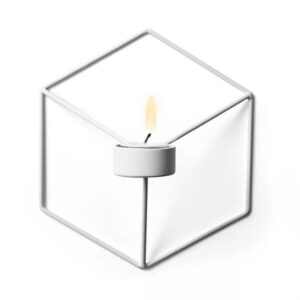 3D Geometric Candlestick Metal Wall Candle Holder Nordic Style Sconce Home Bedroom Restaurant Decor Unique Elegant