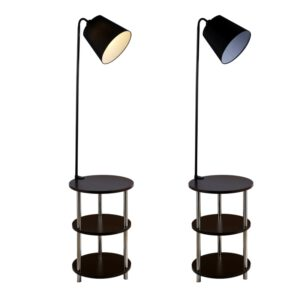 Nordic solid wood modern 220V360 degree rotating leisure small table floor lamp LED coffee table living room bedroom villa lamp